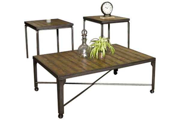 Rustic Brown Cocktail Table & 2 End Tables
