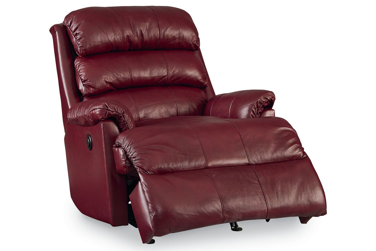 Burgundy leather rocker recliner at gardner white for Burgundy leather chaise