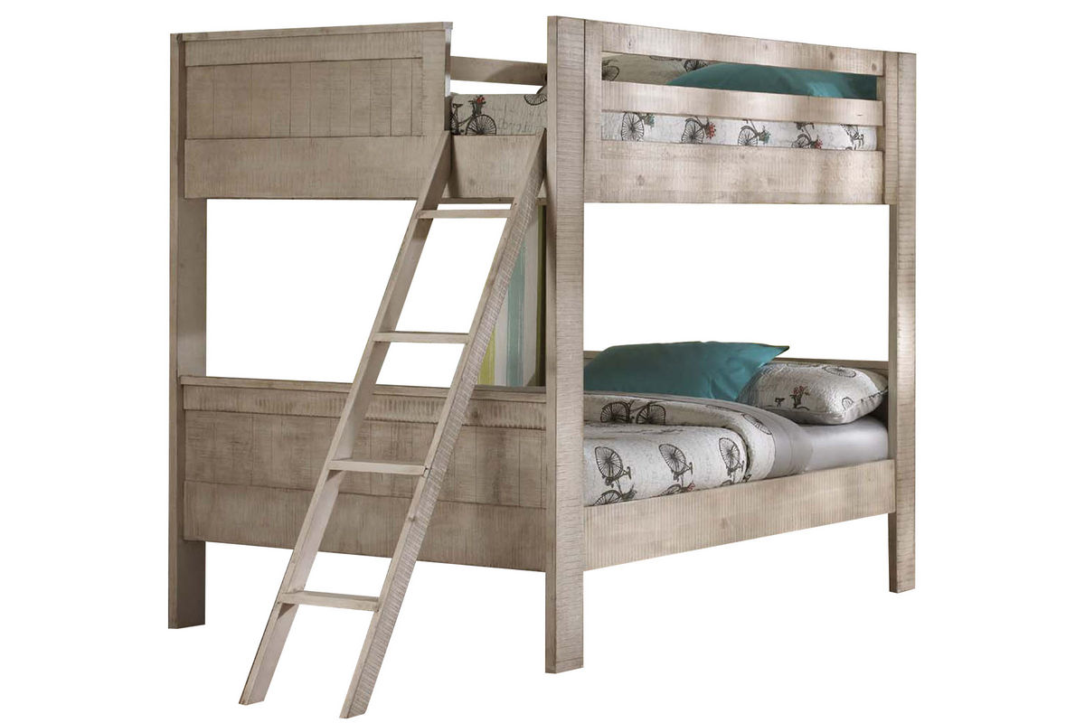 White twin over twin bunk bed with ladder at gardner white for White twin bunk beds