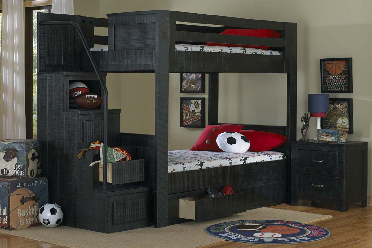 Black full over full bunk bed with staircase Black bunk beds