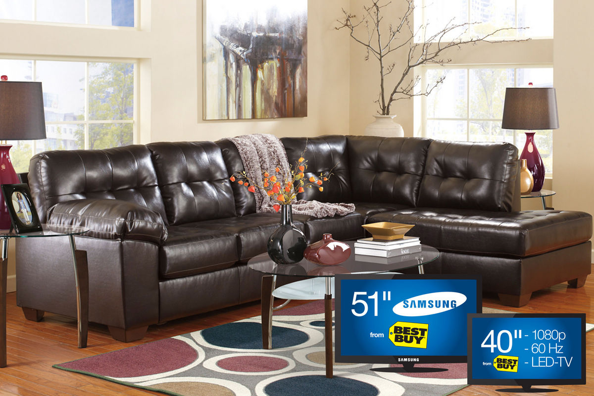 Alliston sectional big picture package with 51 samsung for Bedroom furniture 77598