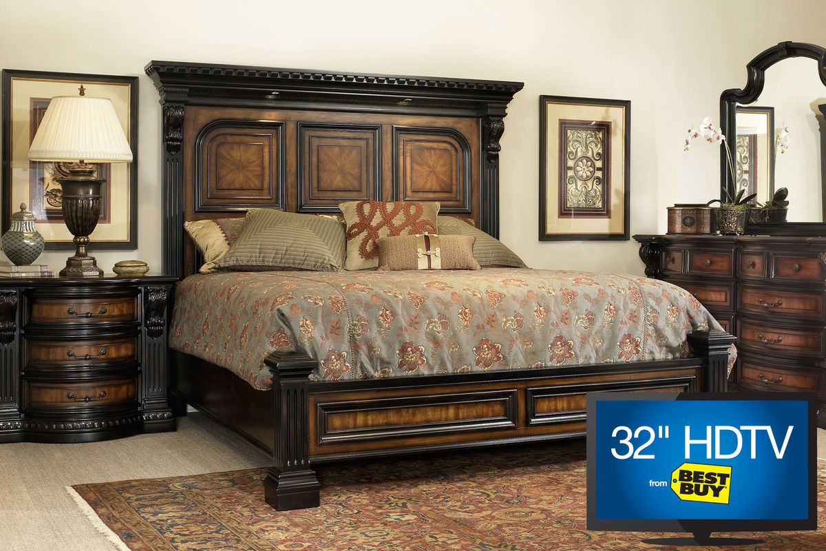 cabernet king platform bedroom set with 32 tv