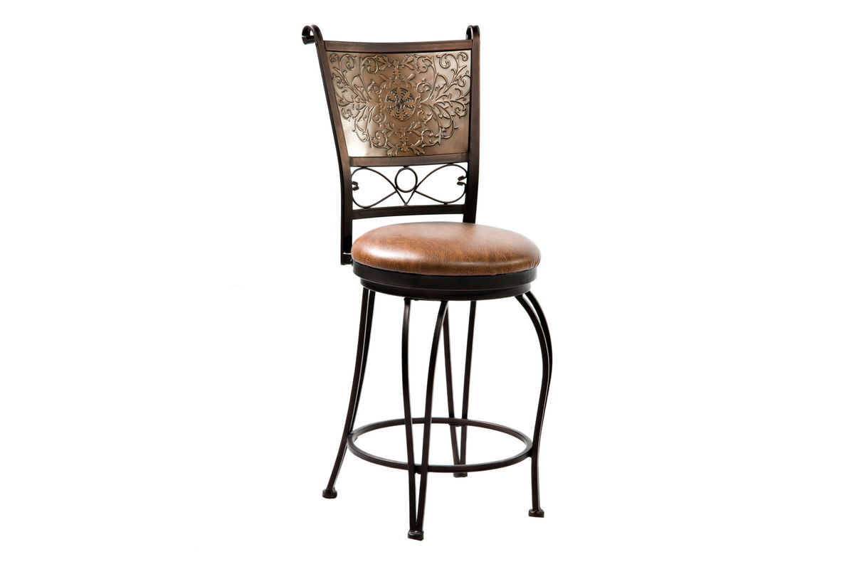 Bronze With Muted Copper Stamped Back Counter Stool 24