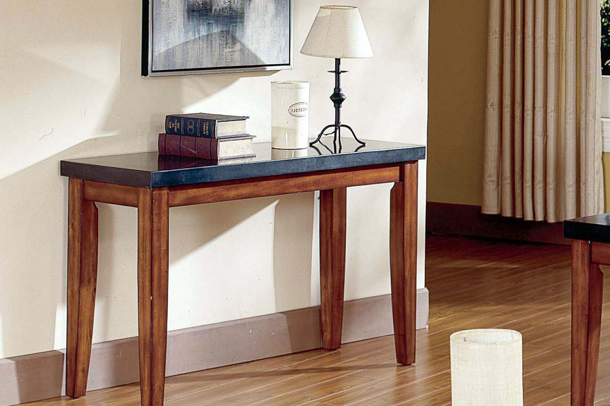 City Wood Amp Granite Sofa Table At Gardner White