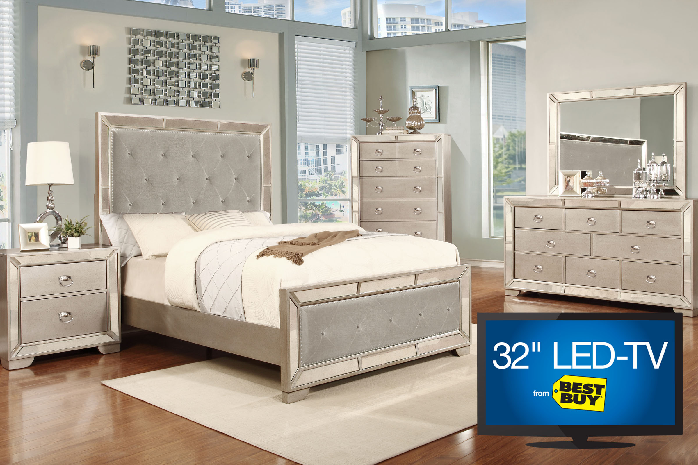 "Image 5 Piece Queen Bedroom Set with 32"" LED TV"