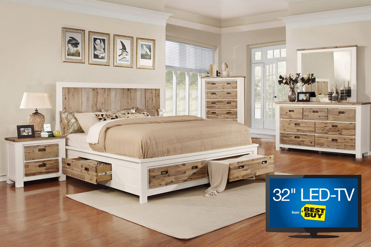 Western queen storage bedroom set with 32 tv at gardner white for Queen bedroom sets