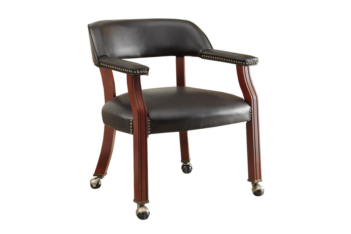 Traditional Black fice Chair With Casters 515K