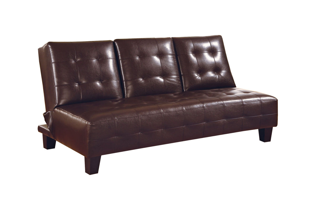 Brown Leather Armless Convertible Futon 300153 At Gardner