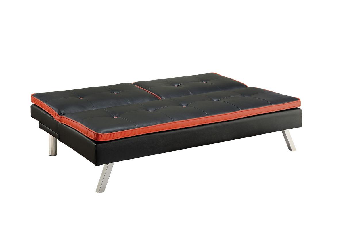 black red leather futon 500766
