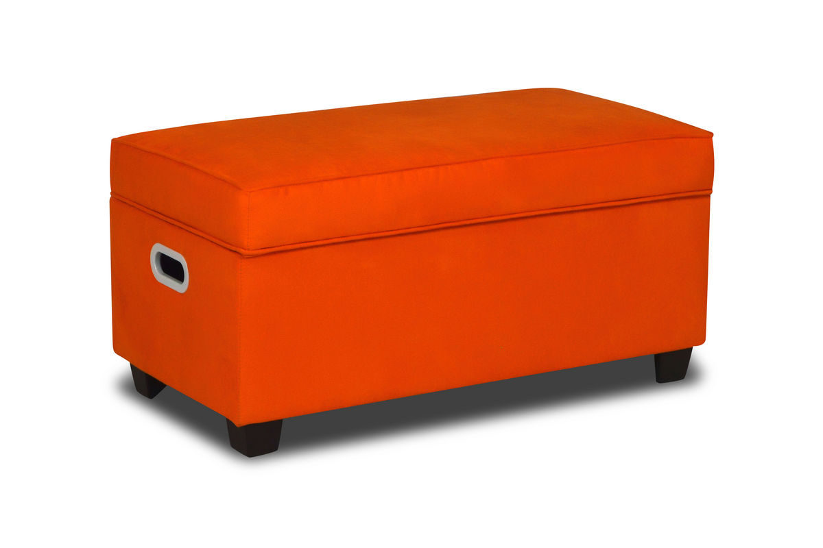 Zippity kids jack storage bench orange at gardner white for Gardner storage