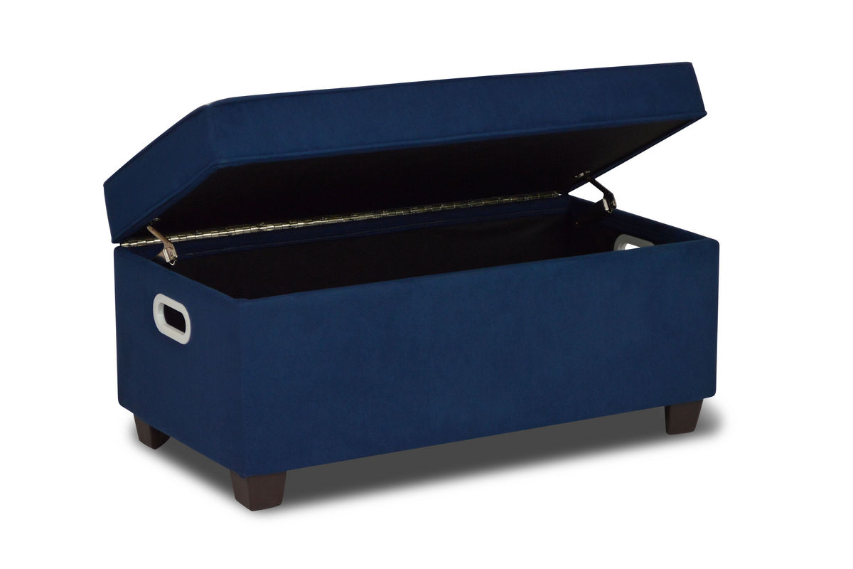 Zippity kids jack storage bench navy at gardner white for Gardner storage