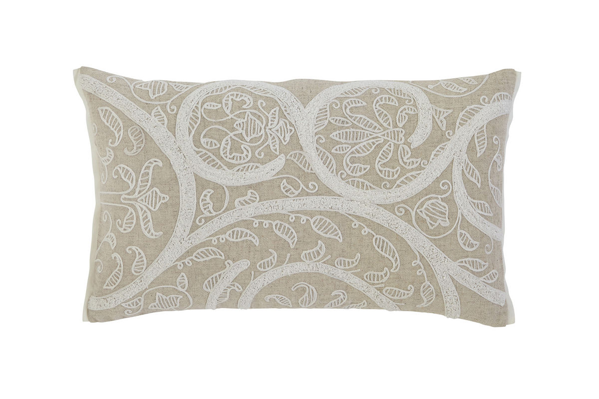 Ashley Embroidered Natural Accent Pillow*FDROP-170629 At