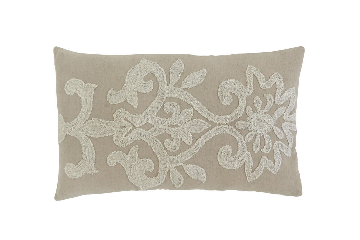 Ashley Furniture Embroidered Beige Accent Pillow*FDROP-170629