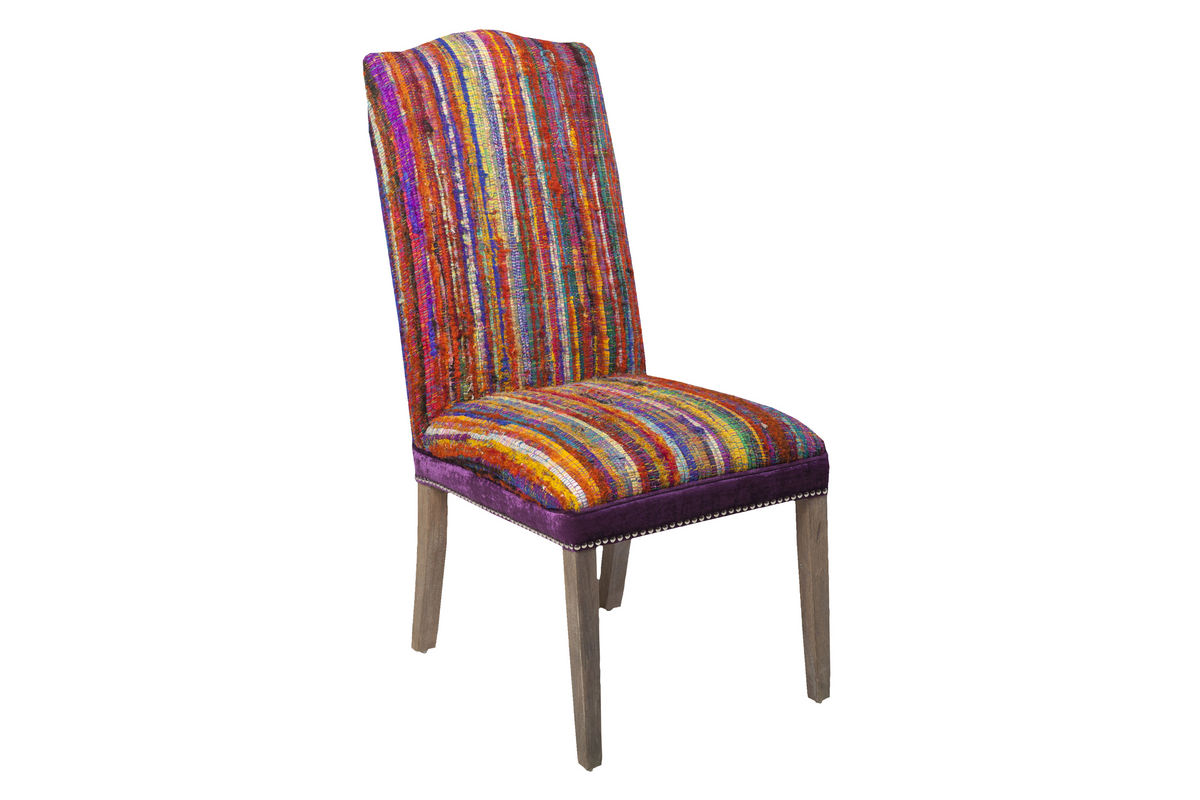Surya multi colored accent chair at gardner white for Multi coloured fabric dining chairs