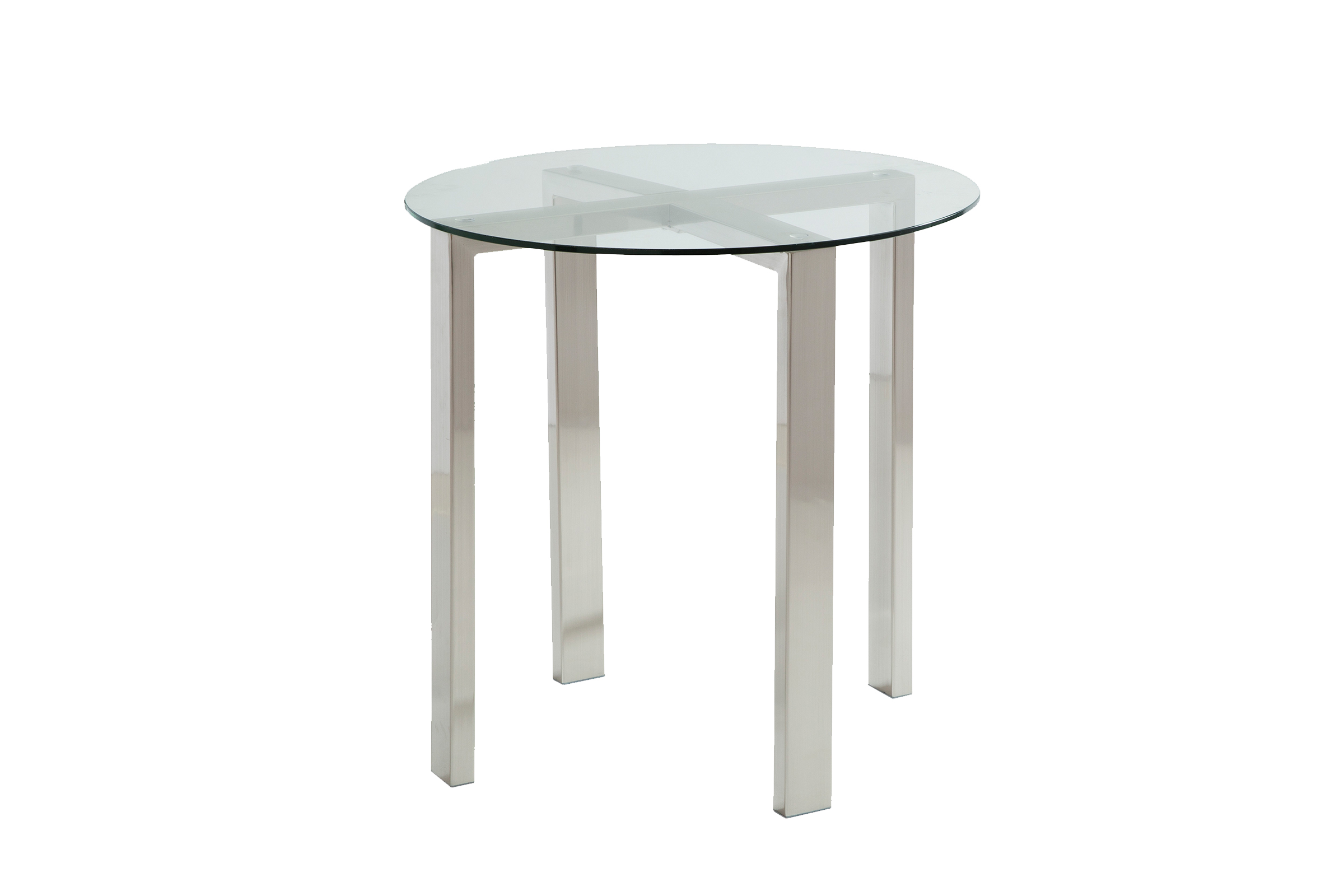 Round Brushed Nickel End Tables