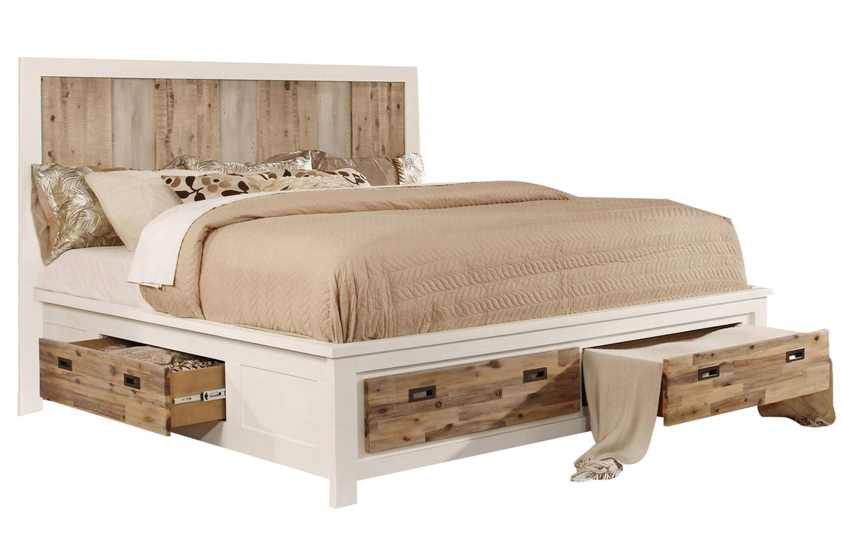 Western king bed with storage at gardner white for Bed frame and dresser set