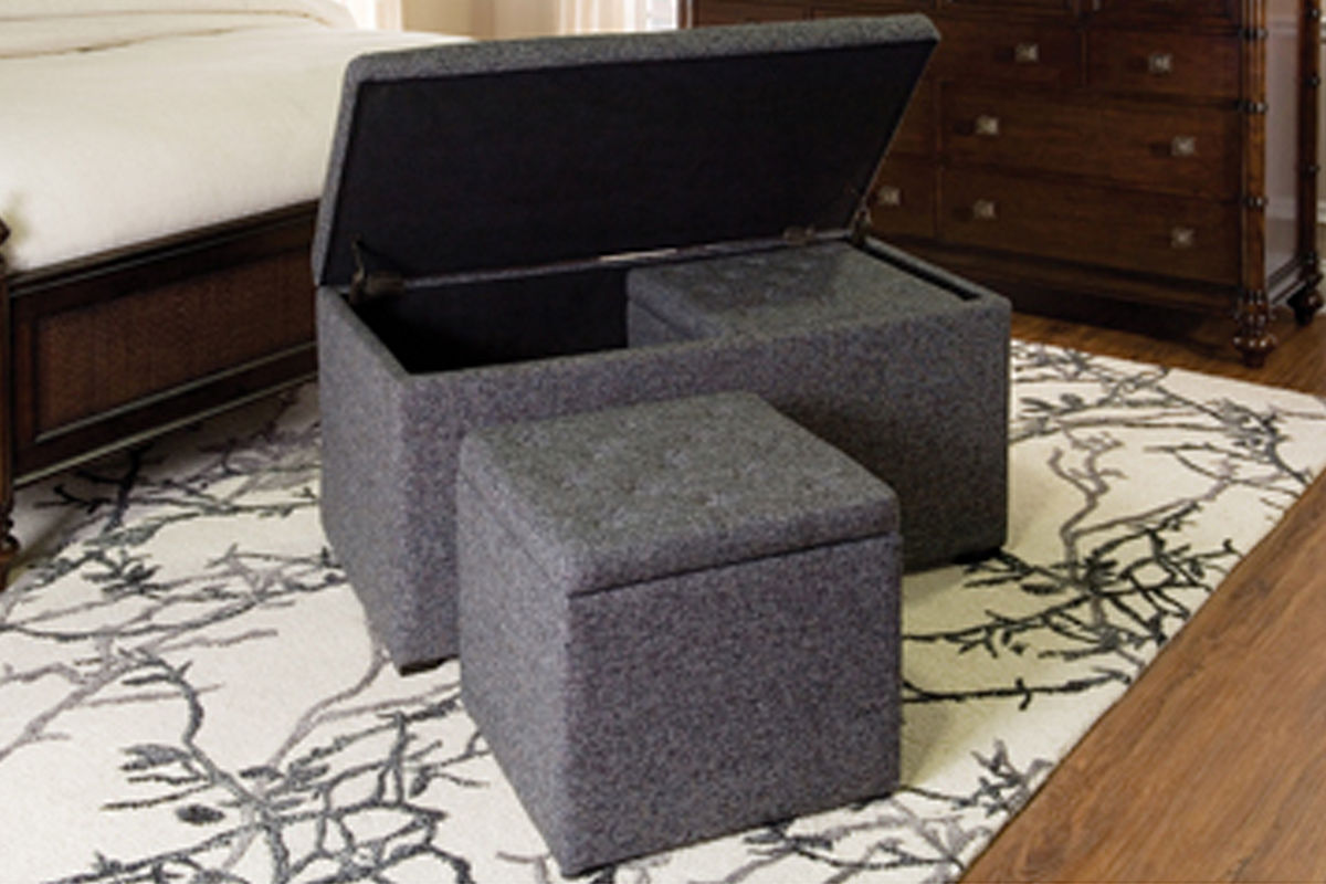 3 piece storage ottoman set at gardner white for Gardner storage