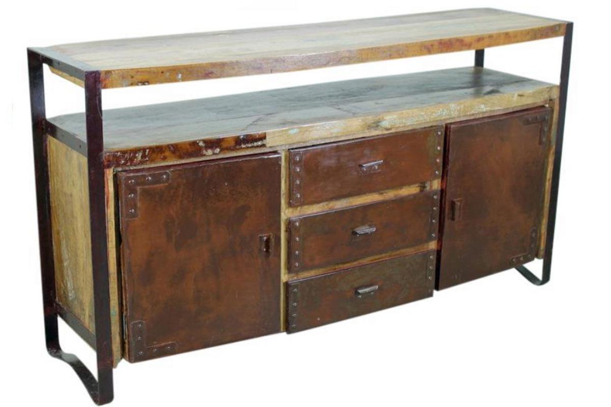 Rustic Bowed Sideboard With Metal Doors At Gardner-White