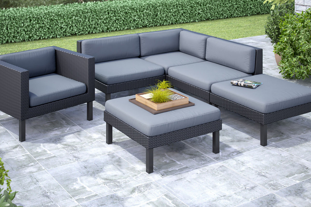 Oakland 6 Piece Sectional with Chaise Lounge and Chair Patio Set