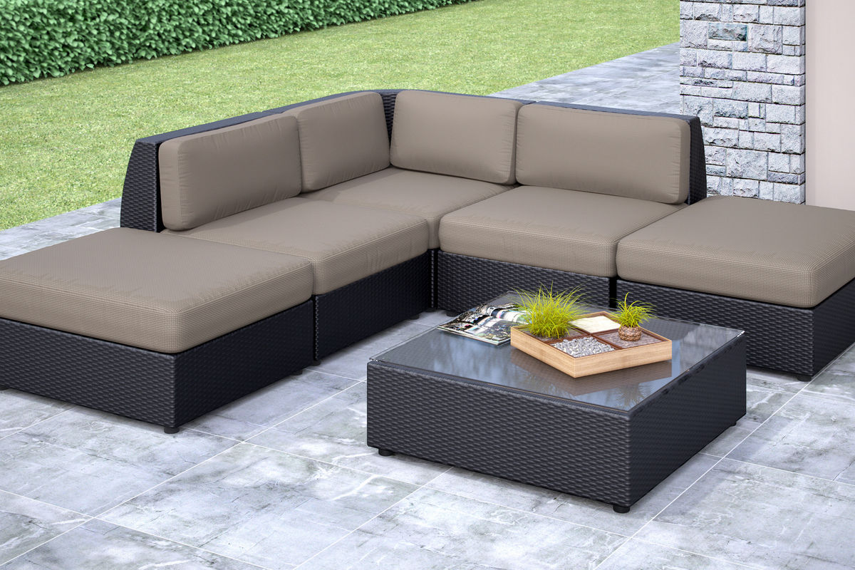 Seattle 6-Piece Chaise Lounge Sectional Patio Set At