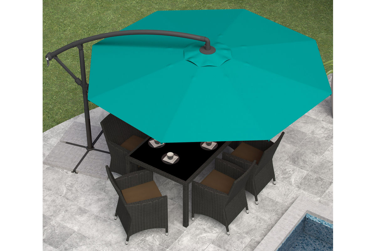 Offset Patio Umbrella In Turquoise Blue At Gardner White