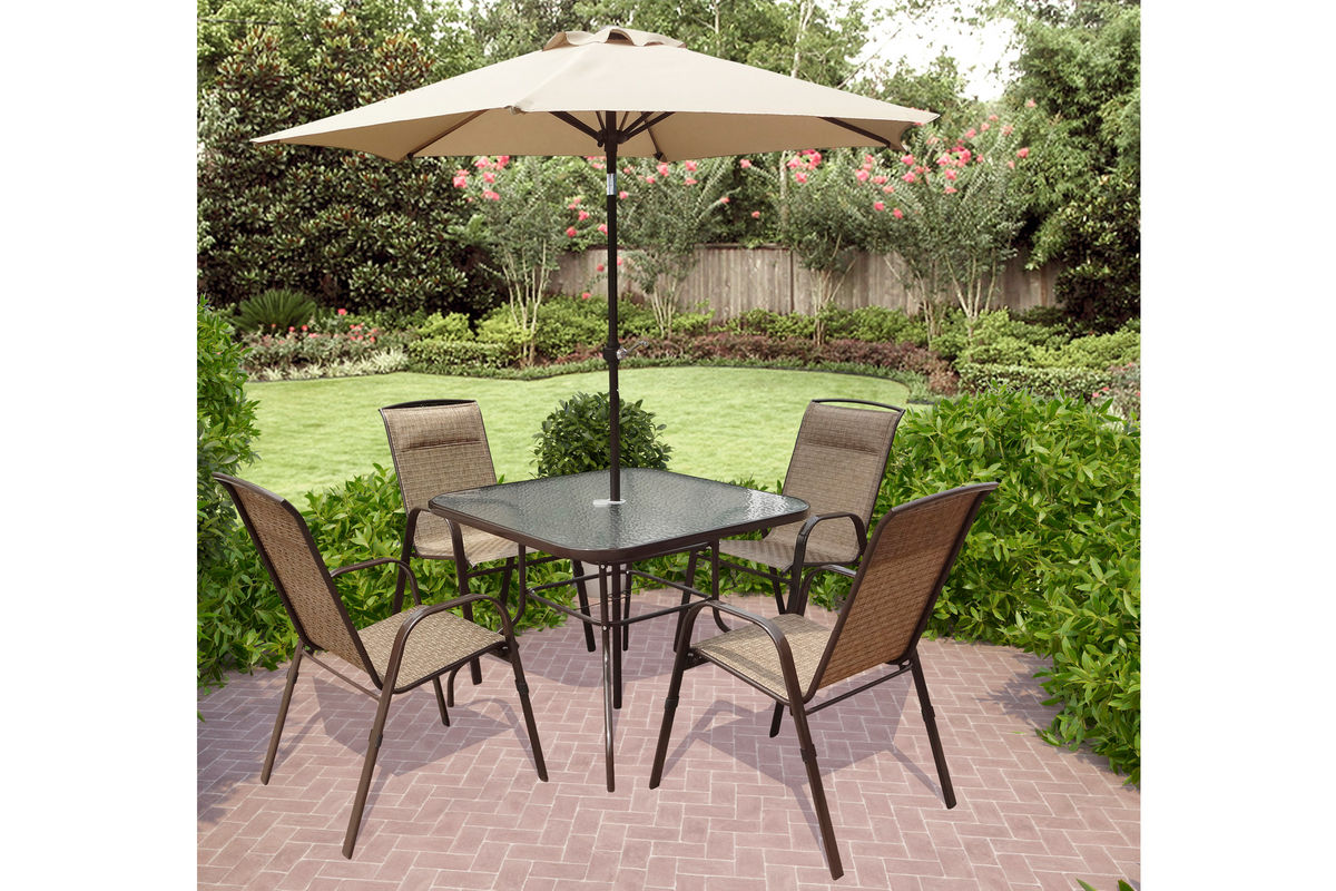 Corliving 5 piece patio dining set with tilting umbrella for Patio dining sets with umbrella