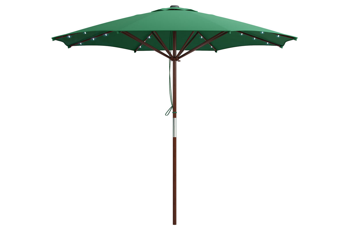 Green Patio Umbrella With Solar Power Led Lights At