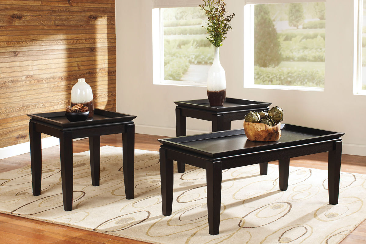 Black Tray Cocktail Table Amp 2 End Tables At Gardner White