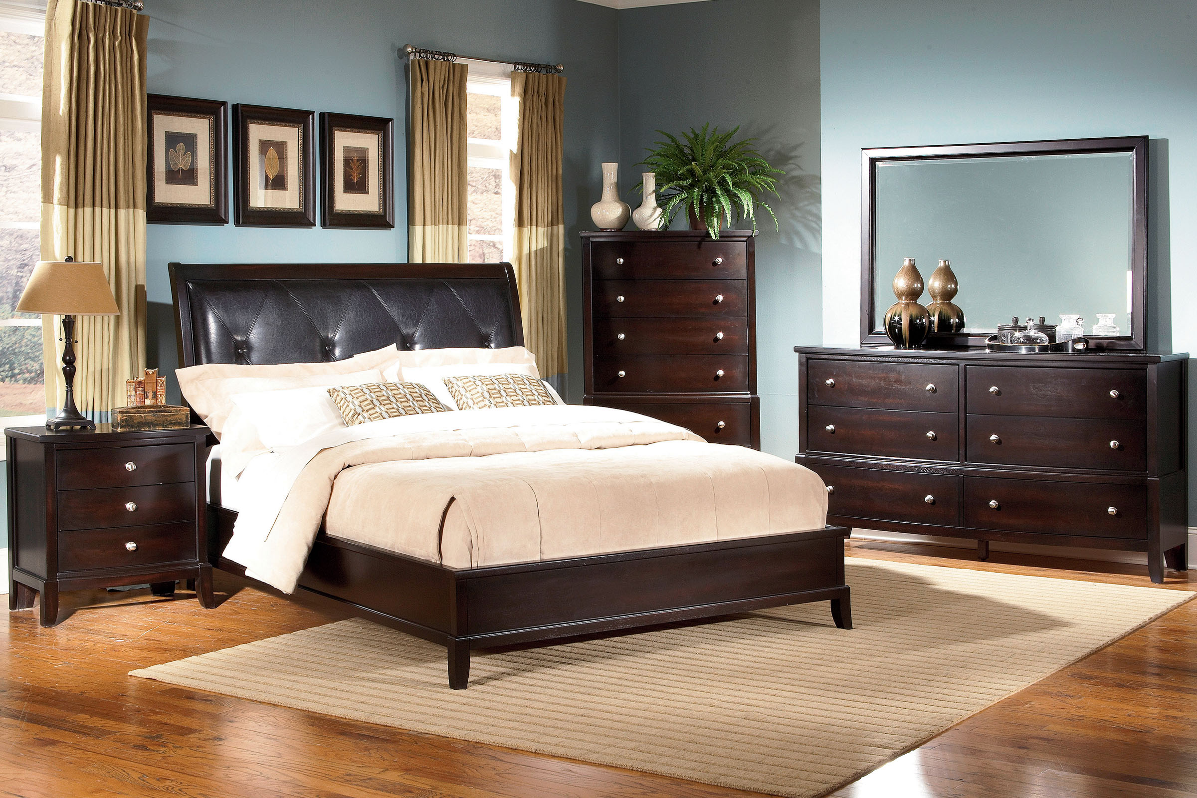 panel walnut sevilla collection new bedroom set bed room gallery newclassics media classic