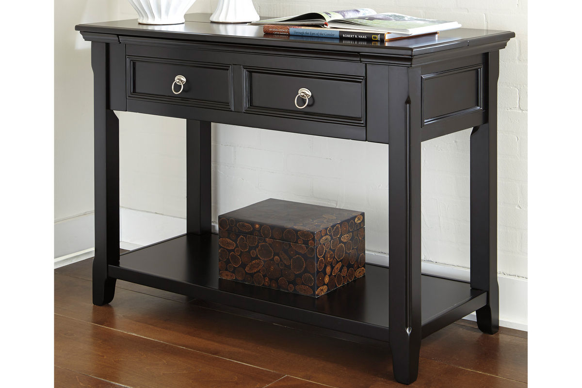 Black Sofa Table With Drop Down Desk At Gardner White