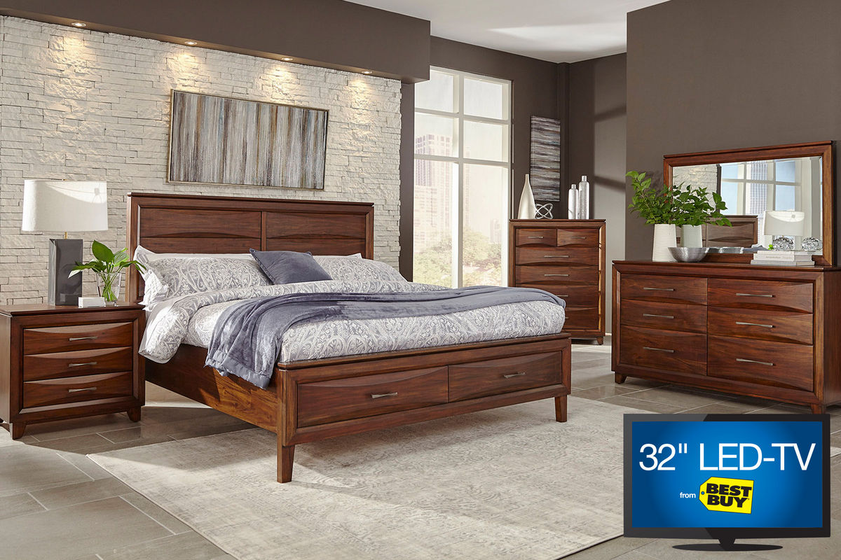 riveria king bedroom set with 32 led tv