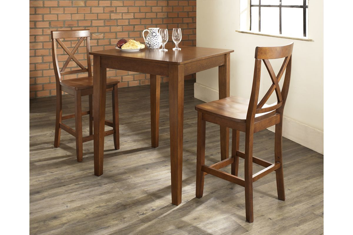3 Piece Pub Dining Set With X-Back Stools In Classic