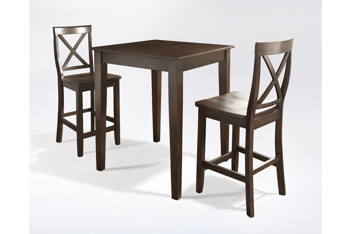3 Piece Pub Dining Set With X-Back Stools In Vintage