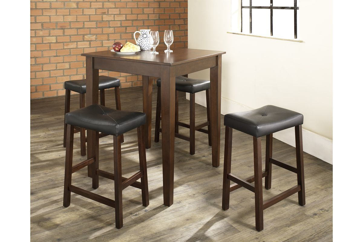 5 Piece Pub Dining Set With Upholstered Saddle Stools In