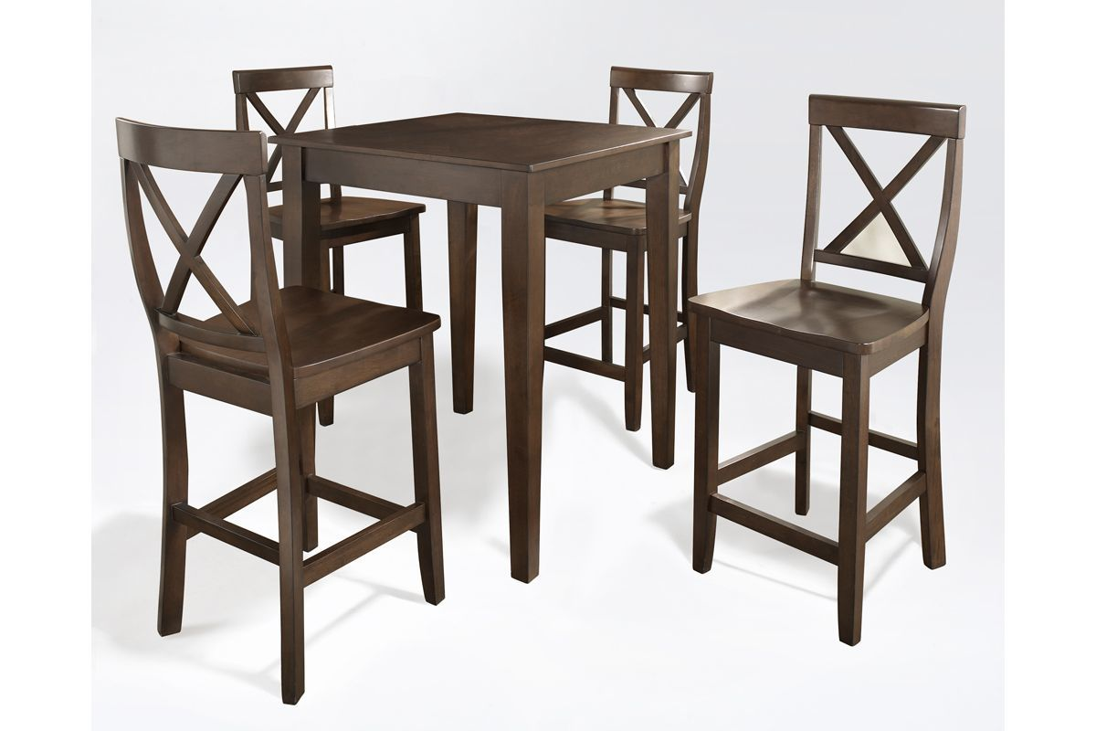 5 Piece Pub Dining Set With X Back Stools In Vintage