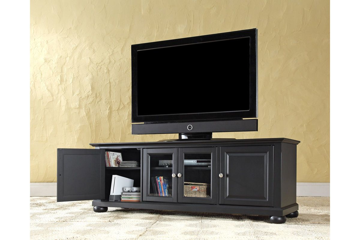 Alexandria 60 Quot Low Profile Tv Stand In Black By Crosley
