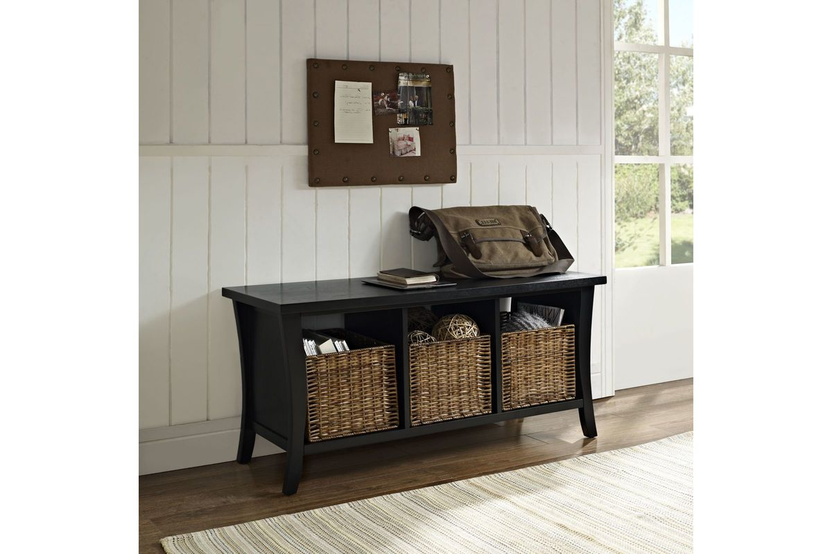 Wallis Entryway Storage Bench In Black By Crosley At