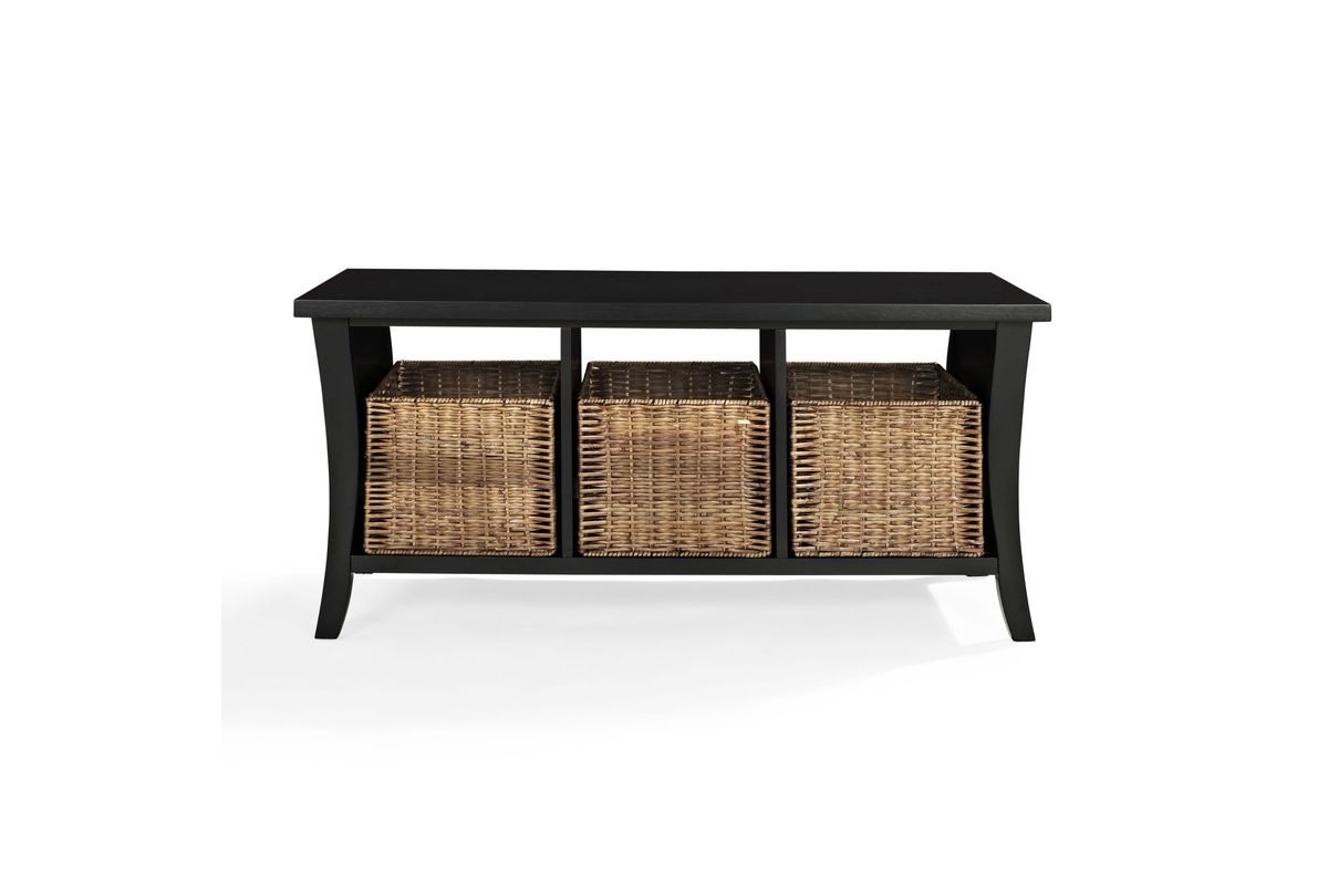 Wallis entryway storage bench in black by crosley at for Gardner storage