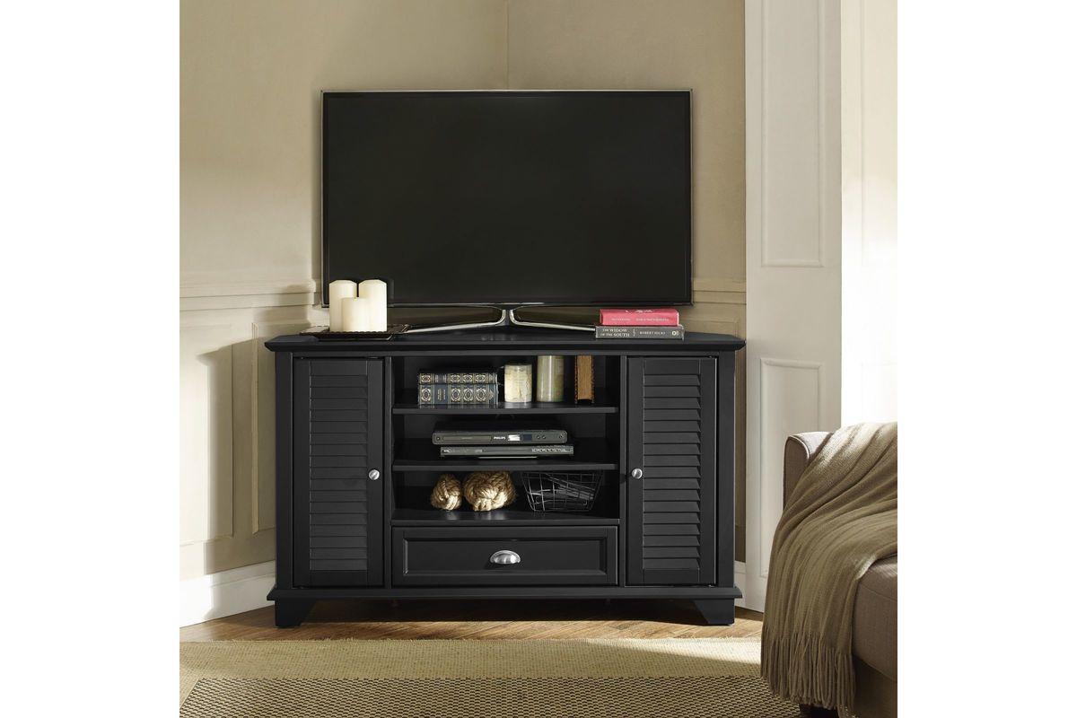 palmetto 50 corner tv stand in black by crosley at gardner white. Black Bedroom Furniture Sets. Home Design Ideas