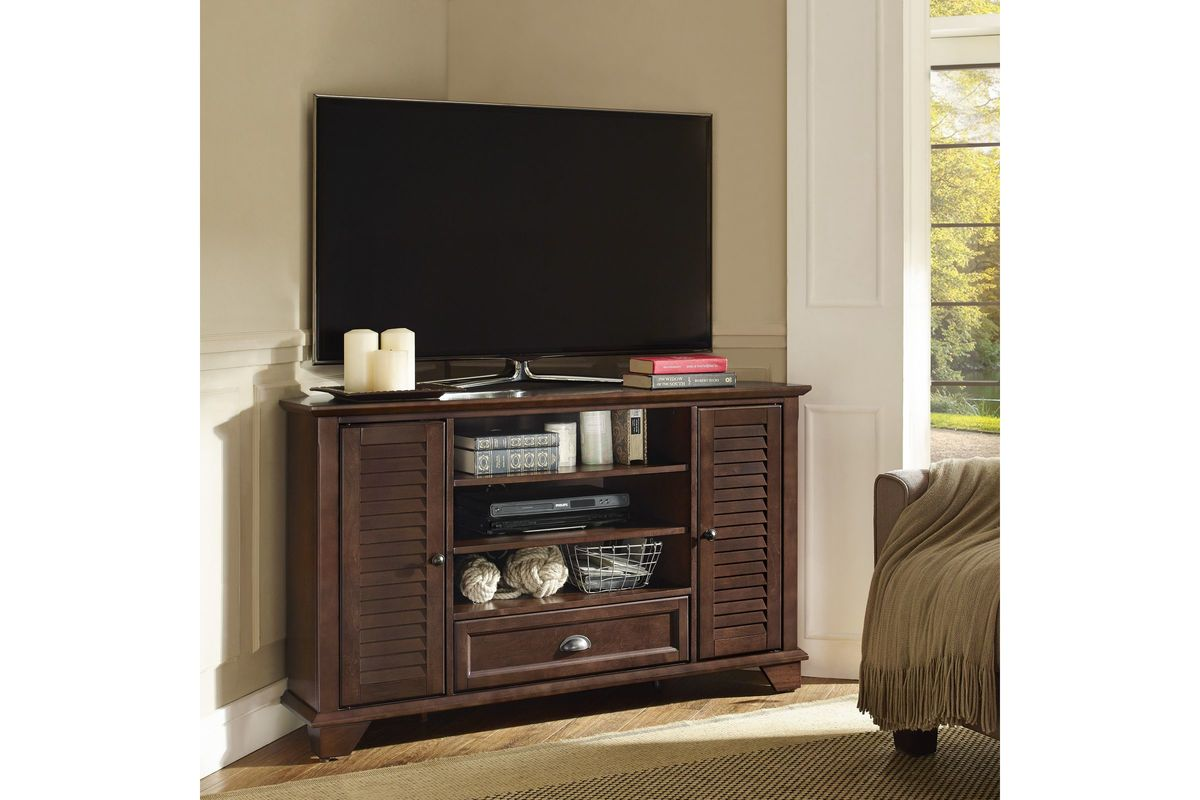 Palmetto 50 Quot Corner Tv Stand In Mahogany By Crosley At
