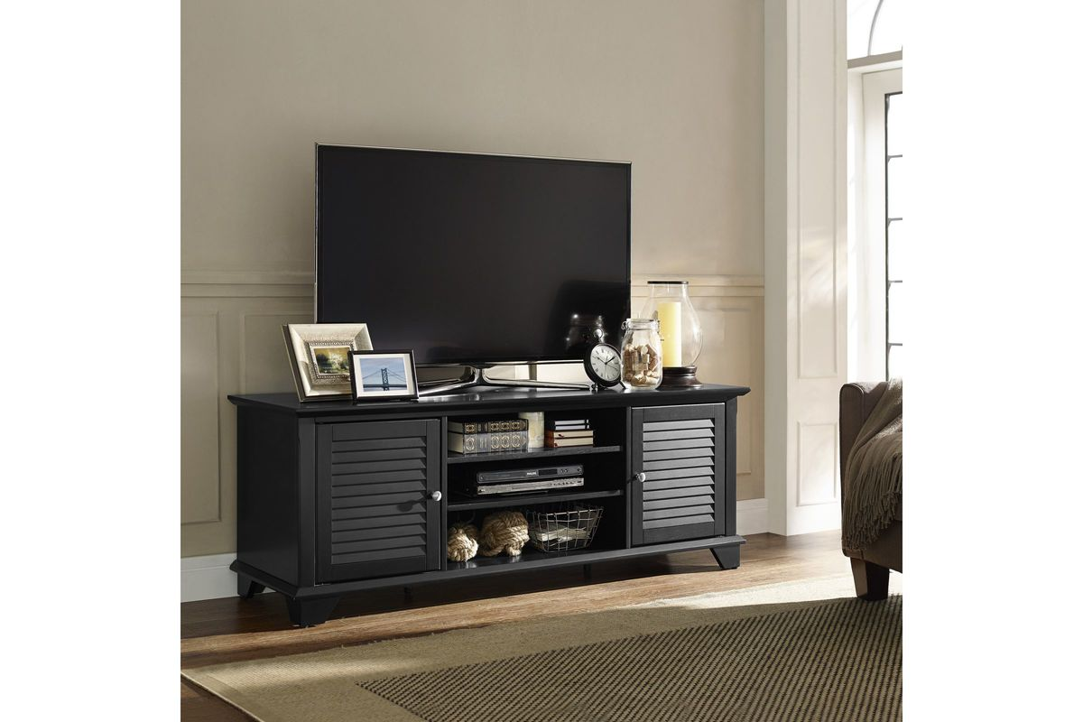 Palmetto 60 Low Profile Tv Stand In Black By Crosley