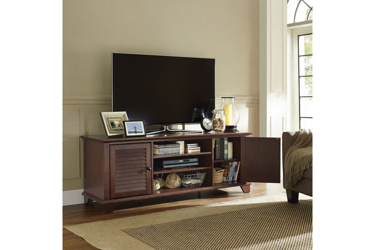 Palmetto 60 Low Profile Tv Stand In Mahogany By Crosley