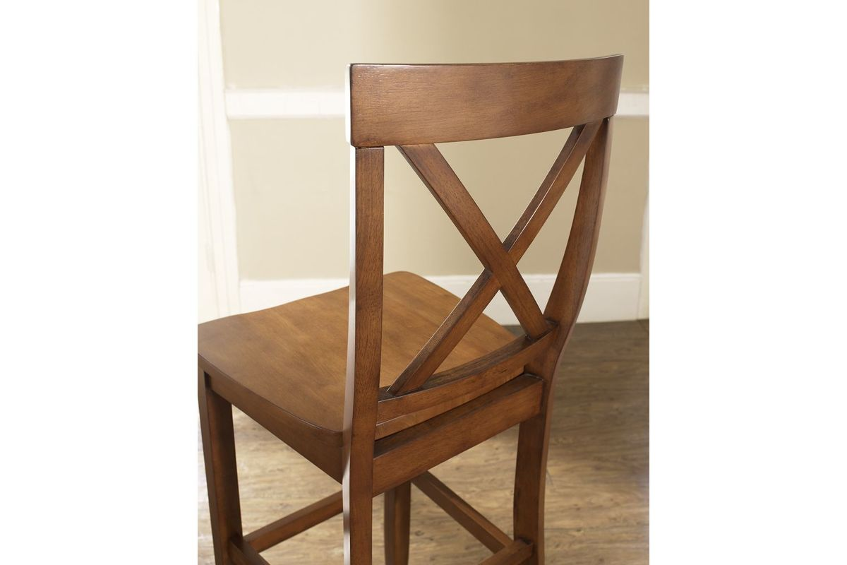 X Back Bar Stool In Classic Cherry Finish With 30 Inch