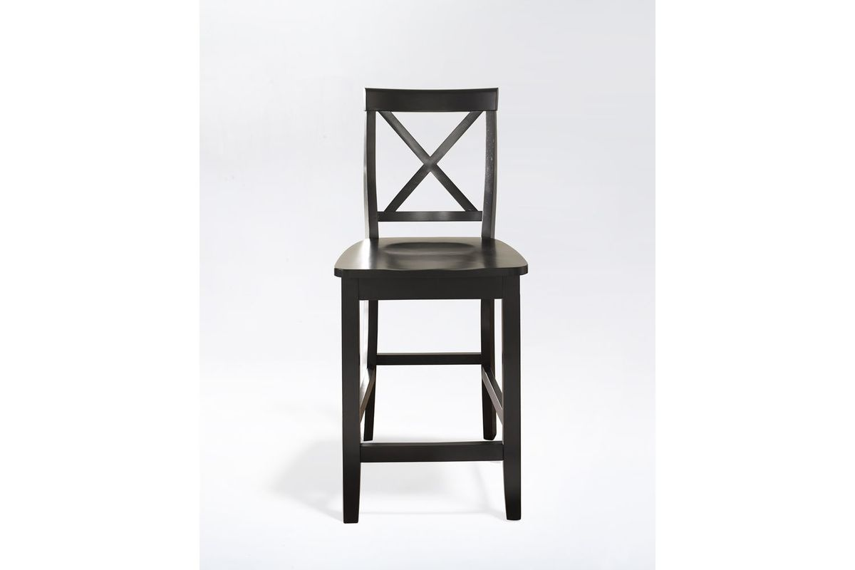X Back Bar Stool In Black With 24 Quot Seat Height Set Of Two
