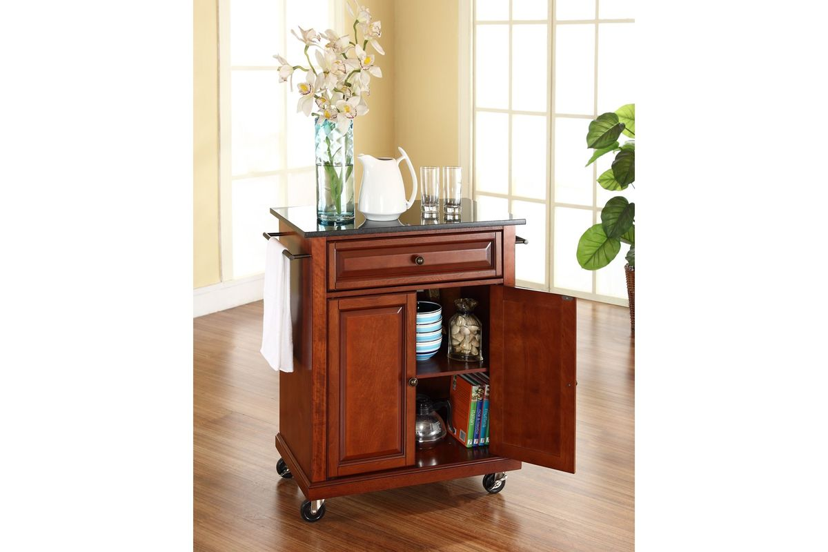 Solid Black Granite Top Portable Kitchen Cart Island In