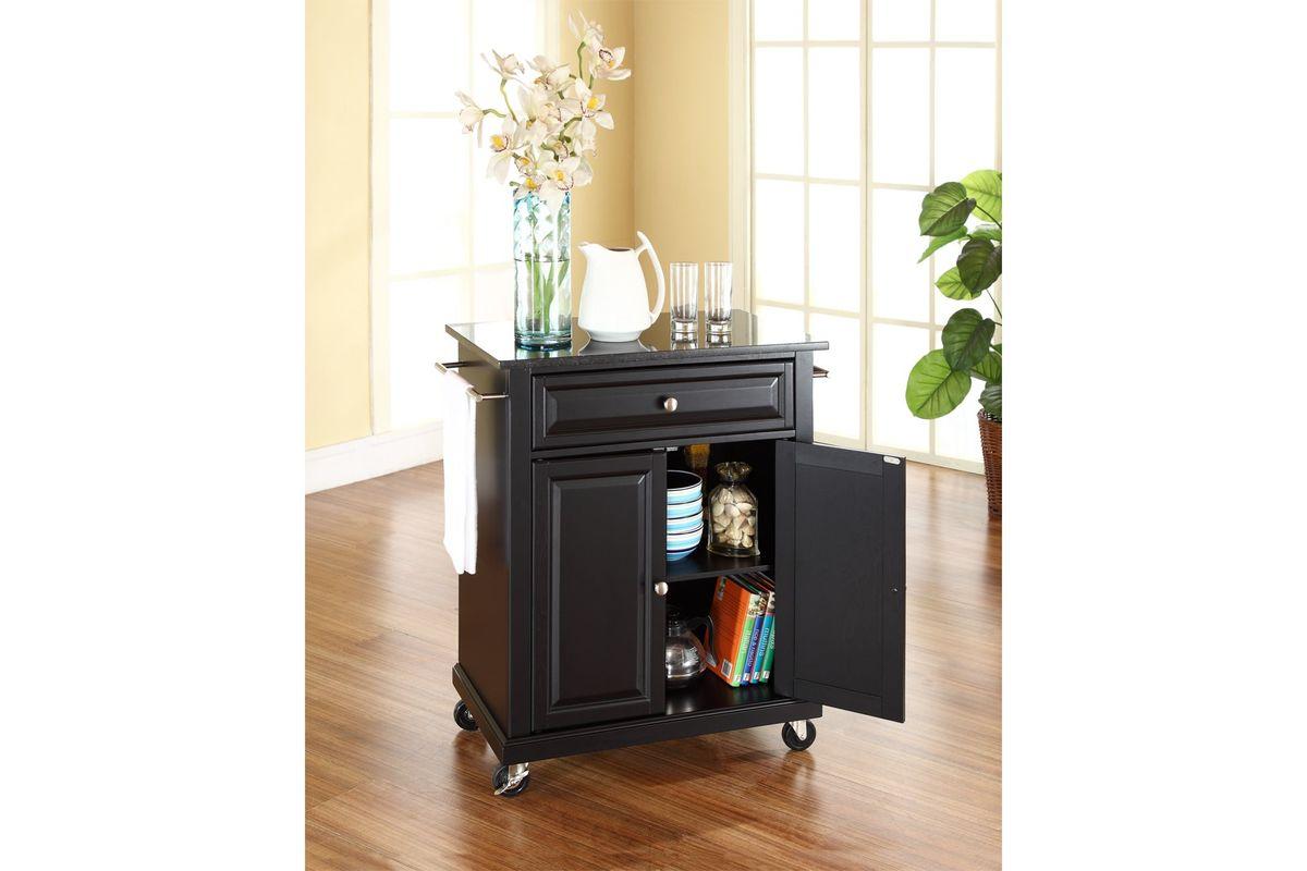Solid Black Granite Top Portable Kitchen Cart Island In Black Finish By Crosley