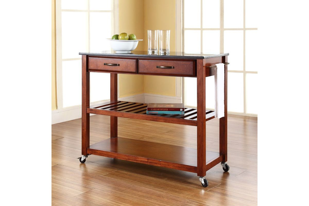 Solid Black Granite Top Kitchen Cart Island W Optional Stool Storage In Cherry Finish By Crosley