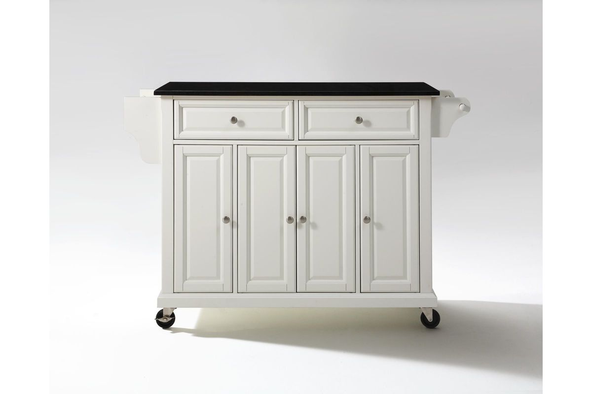 Solid Black Granite Top Kitchen Cart Island In White Finish By Crosley