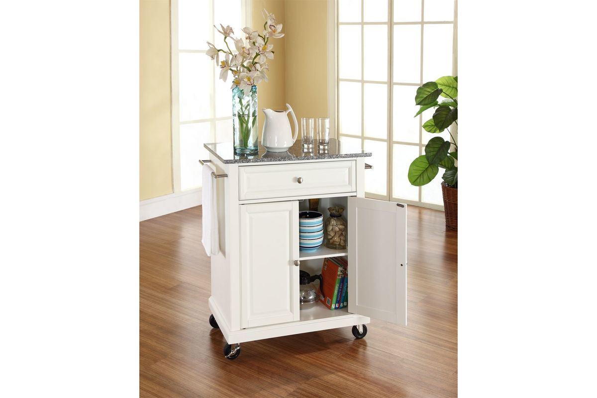 solid granite top portable kitchen cart island in white