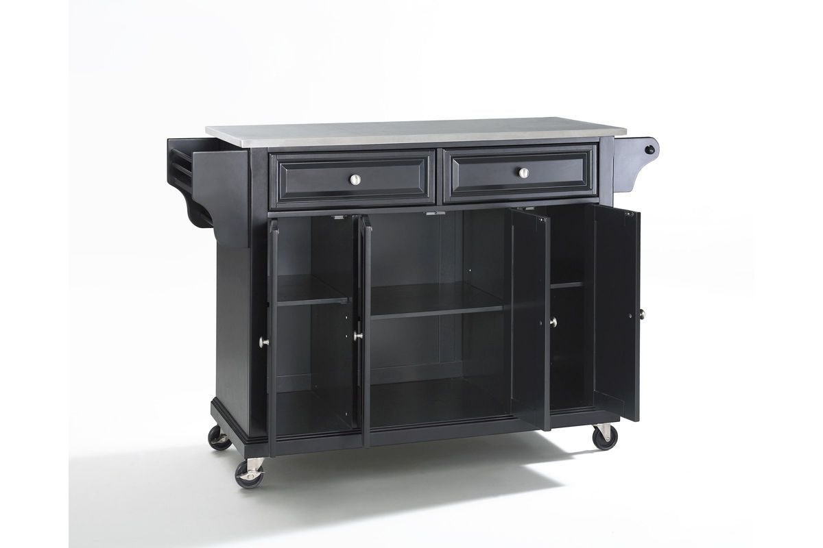 Stainless Steel Top Kitchen Cart Island In Black By Crosley